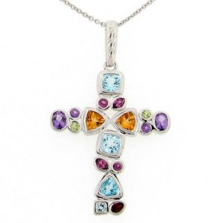 Meredith Leigh Sterling Silver Multi gemstone Cross Necklace
