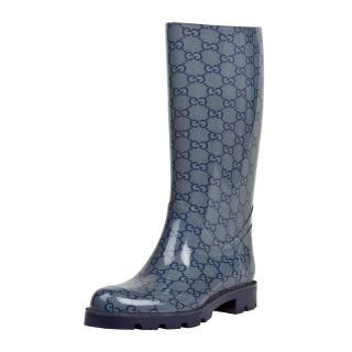 Gucci Edimburg Blue Web Detail Rain Boots