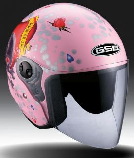 GSB Womens Pink Half Open Face Love Motorcycle Helmet