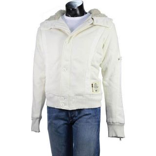 Diesel Mens White Hooded Sweater Jacket