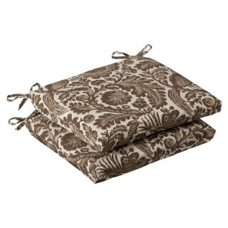 Pillow Perfect Outdoor Brown/ Beige Floral Squared Seat Cushions (Set