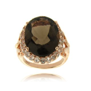 Gem Jolie Rose Overlay Smokey Quartz and White Topaz Ring (7ct TGW
