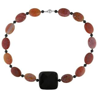 Sterling Silver Multi colored Gemstone Bead Necklace