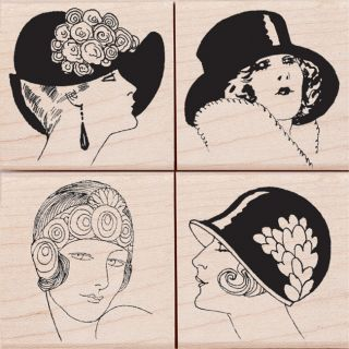 Hero Arts Fancy Hats Mounted Rubber Stamp Set
