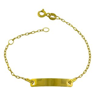 14k Yellow Gold Cable Link Baby ID Bracelet