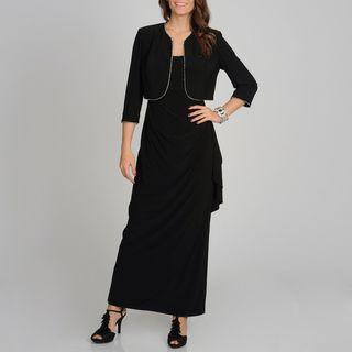 Richards Womens Black Rhinestone Trimmed Jacket and Dress Set