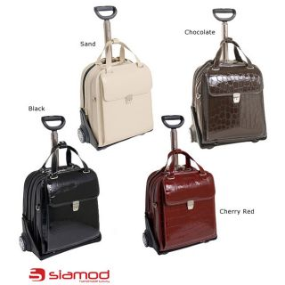 Siamod Novembre Womens Leather Detachable Wheeled Laptop Case
