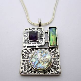 Roman Glass, Amethyst and Biwa Pearl Necklace (6 mm) (Israel