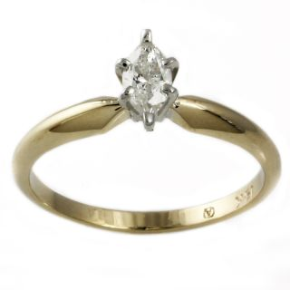 Beverly Hills Charm 14k Gold 1/4ct Marquise Diamond Solitaire