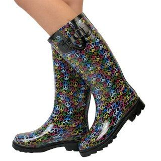 Peace Sign Knee High Snow / Rain Boots NIB Size 7