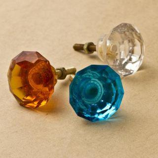 Set of 6 Glass Jewelers Knob (India)