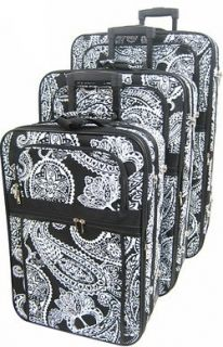 3 Piece Luggage Set Paisley Print Black (Black) Clothing