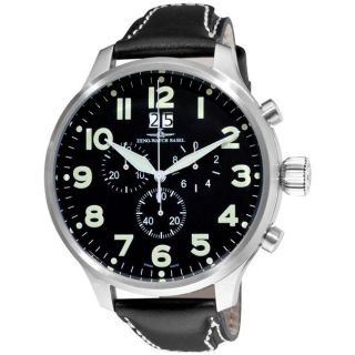 Zeno Mens Super Oversized Black Face Quartz Chronograph Watch