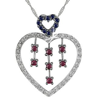14k Gold 1/6ct Diamond and Ruby Heart Necklace