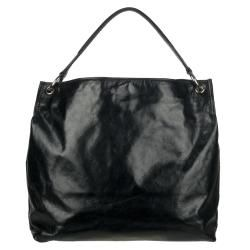 Prada Vitello Shine Black Distressed Leather Hobo Bag
