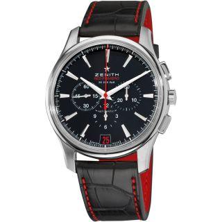 Zenith Mens CaptainElite Black Dial Black Leather Strap Watch