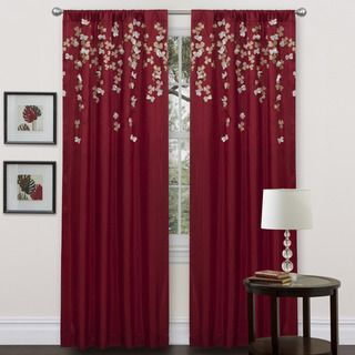 Red Faux Silk 84 inch Flower Drop Curtain Panel