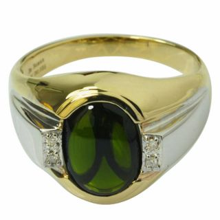 De Buman 10k Yellow Gold Mens Chrome Diopside and Diamond Accent Ring