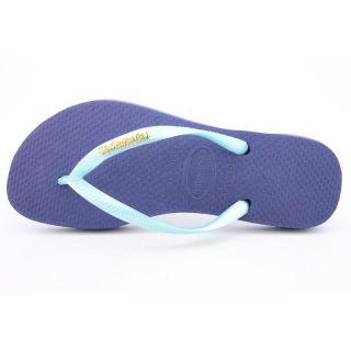Havaianas Womens Slim Logo Metallic Blue Sandals