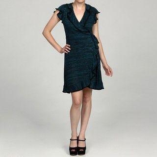 Tiana B Womens Teal/ Black Sweater Wrap Dress