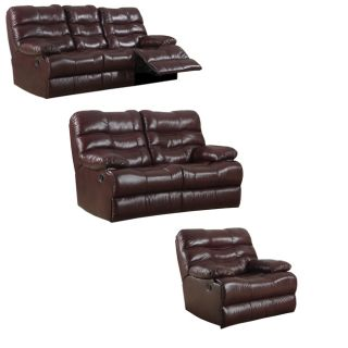 Cameron Burgundy Leather Reclining Sofa, Loveseat and Recliner/Glider
