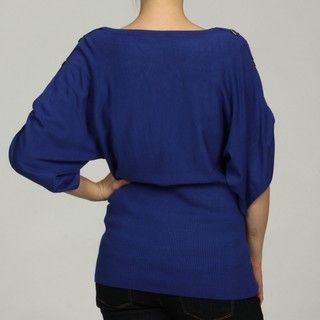 Cable & Gauge Womens Ribbed D ring Adorned Dolman Sleeve Top