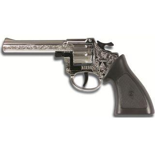 Pistolet Ringo couleur chrome, 198 mm, permettant de tirer 8 coups
