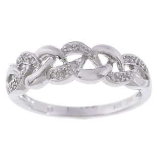 14k White Gold Diamond Wavy Band Ring