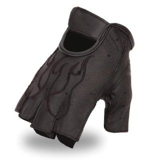 First MFG First Classics Mens Fingerless Leather Gloves. Gel Padded