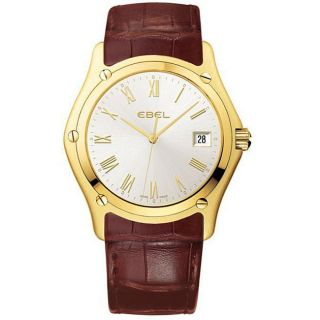 Ebel Classic Mens Leather Strap Yellow Gold Watch