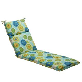 Pillow Perfect Blue/ Green Contemporary Floral Outdoor Chaise Lounge