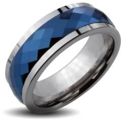 Mens Tungsten Carbide Blue Multi faceted Spinner Ring (8 mm