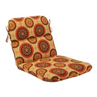 Pillow Perfect Outdoor Brown/ Orange Circles Round Chair Cushion