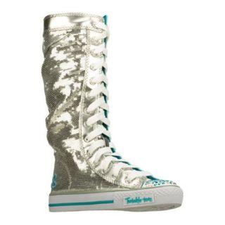 Girls Skechers Twinkle Toes Shuffles Electric Dreams Silver