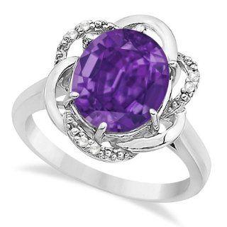 Modern Purple Amethyst and Diamond G H/SI Right Hand