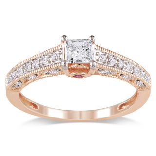 Miadora 10k Pink Gold 1/2ct TDW Diamond and Pink Sapphire Ring (G H