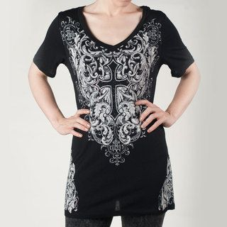 Tabeez Womens Plus Black Rhinestone Cross Tee