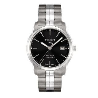 Tissot Mens PR100 Black Dial Titanium Watch