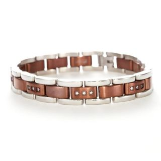 Stainless Steel and Brown Ion plated Mens Cubic Zirconia Bracelet