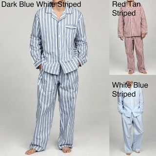 Alexander Del Rossa Mens Striped Cotton Pajama Set