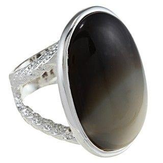 Silvertone Imitation Horn Oval Fashion Ring