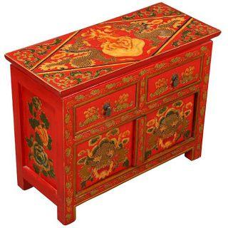 Hand painted Tibetan Red Dragons Storage Cabinet