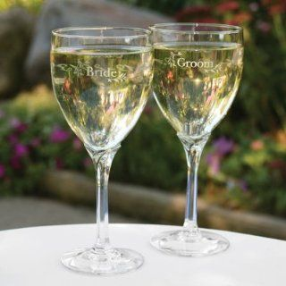 Bride & Groom Wine Glasses   Personalized