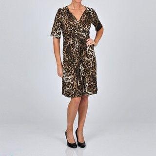 Robbie Bee Womens Twist Front Animal Printed Dress