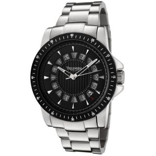 Triumph Motorcycles Mens Black Dial Stainless Steel Watch