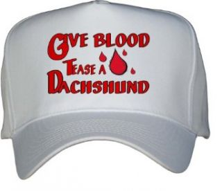 Give Blood Tease a Dachshund White Hat / Baseball Cap