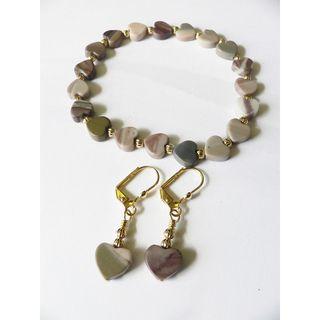 Palmtree Gems Hearts in Atlantis Bracelet and Earring Set