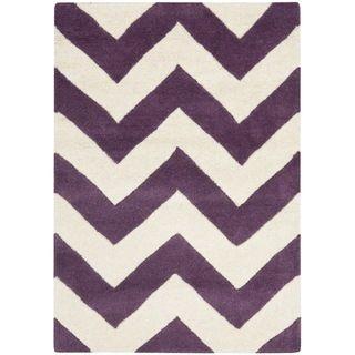Handmade Chevron Purple/ Ivory Wool Rug (2 x 3)