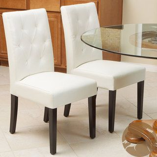 Christopher Knight Home Gentry Bonded Leather Ivory Dining Chair (Set