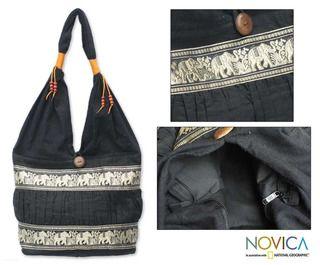 Cotton Black Elephant Parade Shoulder Bag (Thailand)
